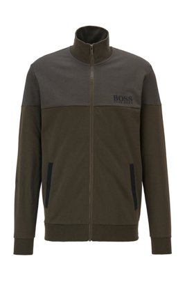 Regular-fit loungewear jacket in cotton-blend piqué, Light Green