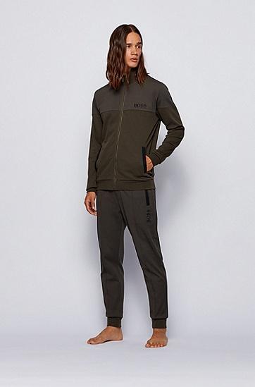 棉质混纺凸纹布常规版家居夹克,  361_淡绿色