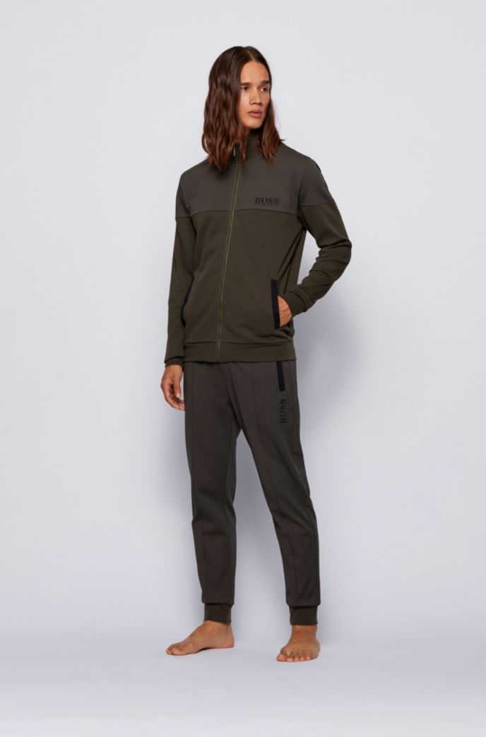 Regular-fit loungewear jacket in cotton-blend piqué