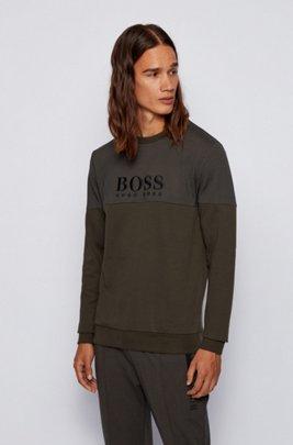 Loungesweatshirt in piqué van een katoenmix, Kalk