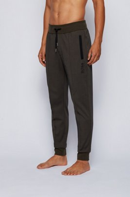 Drawstring loungewear trousers in a cotton blend, Light Green