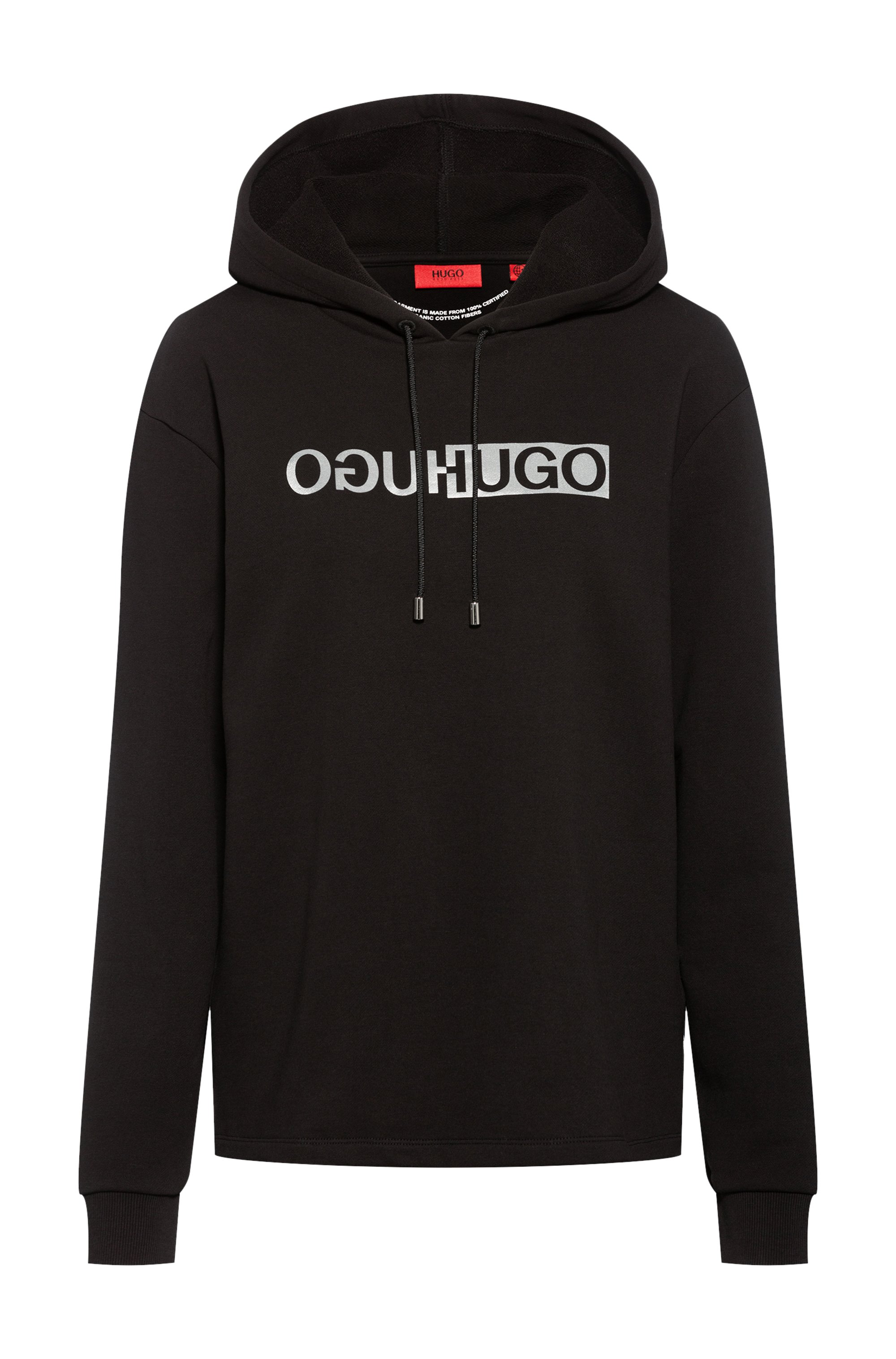 Relaxed-fit hoodie in organic cotton with reflective logo, Black
