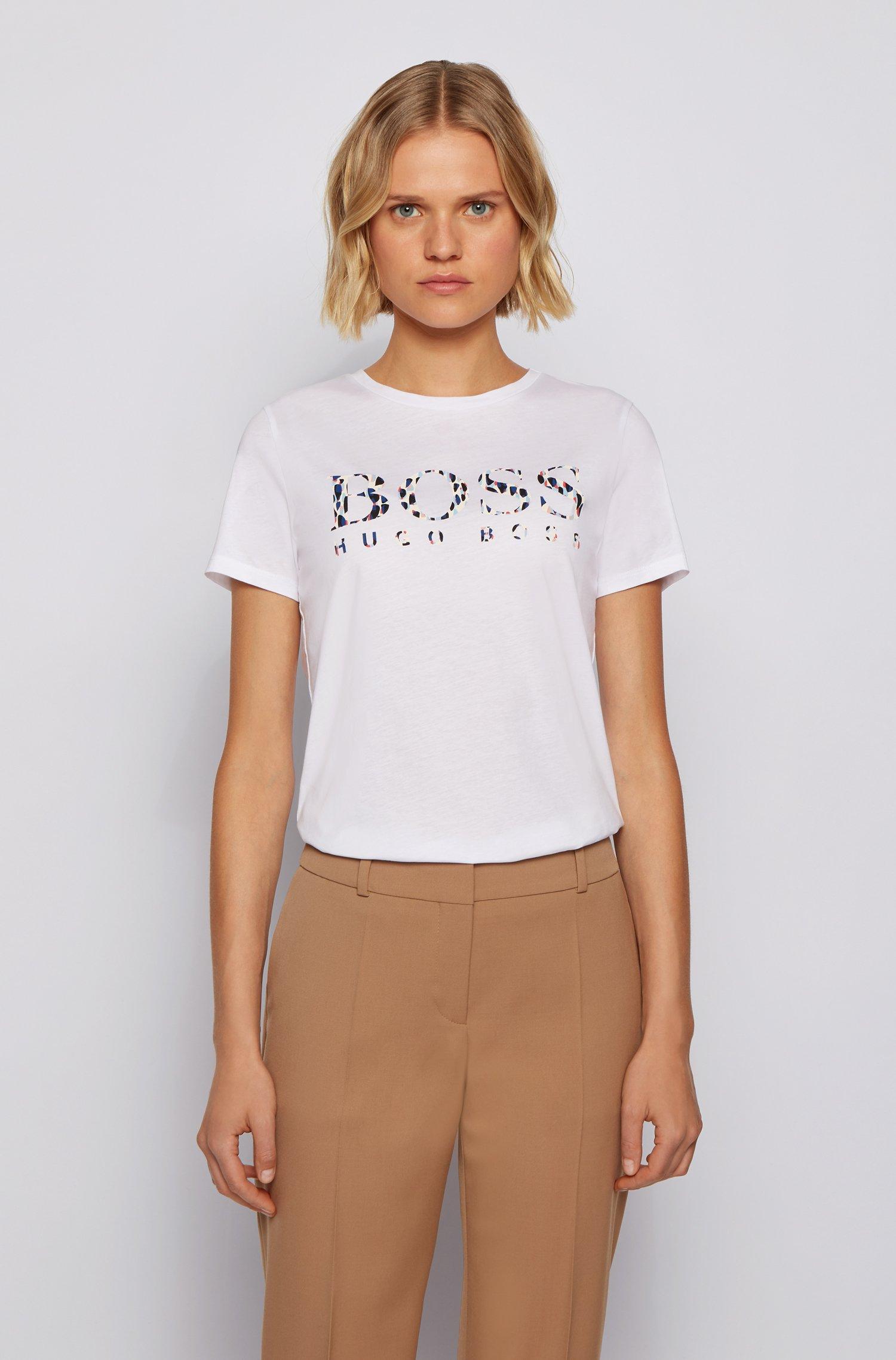 T-shirt en jersey de coton avec logo artistique de la nouvelle saison, Blanc