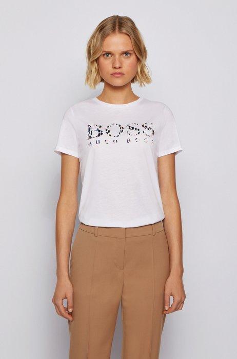 T-Shirt aus Baumwoll-Jersey mit Logo-Artwork der neuen Saison, Weiß
