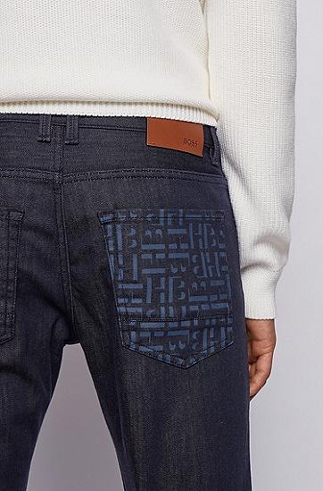 交织字母图案口袋弹力修身牛仔裤,  411_海军蓝色