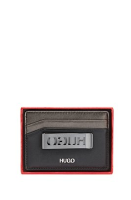 Leather card holder and brushed-metal money clip, Black