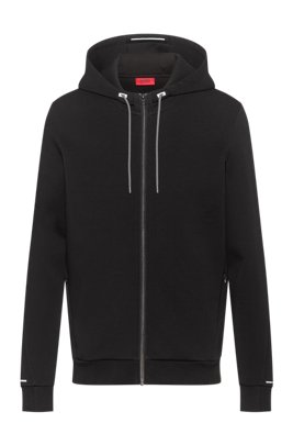 Cotton-blend zip-through hoodie with reflective trims, Black