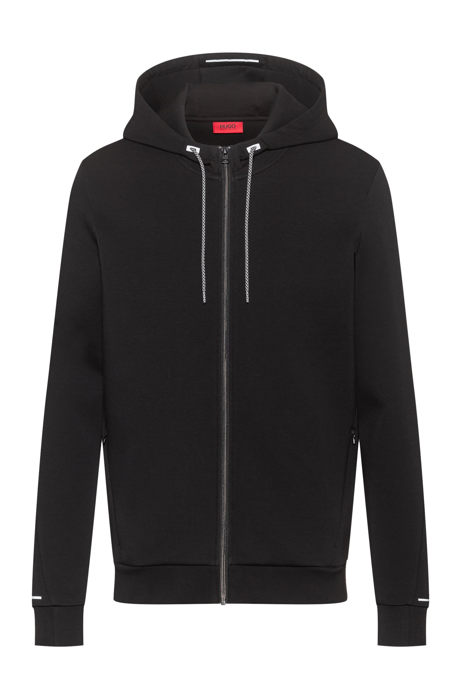 Cotton-blend zip-through hoodie with reflective trims, Black
