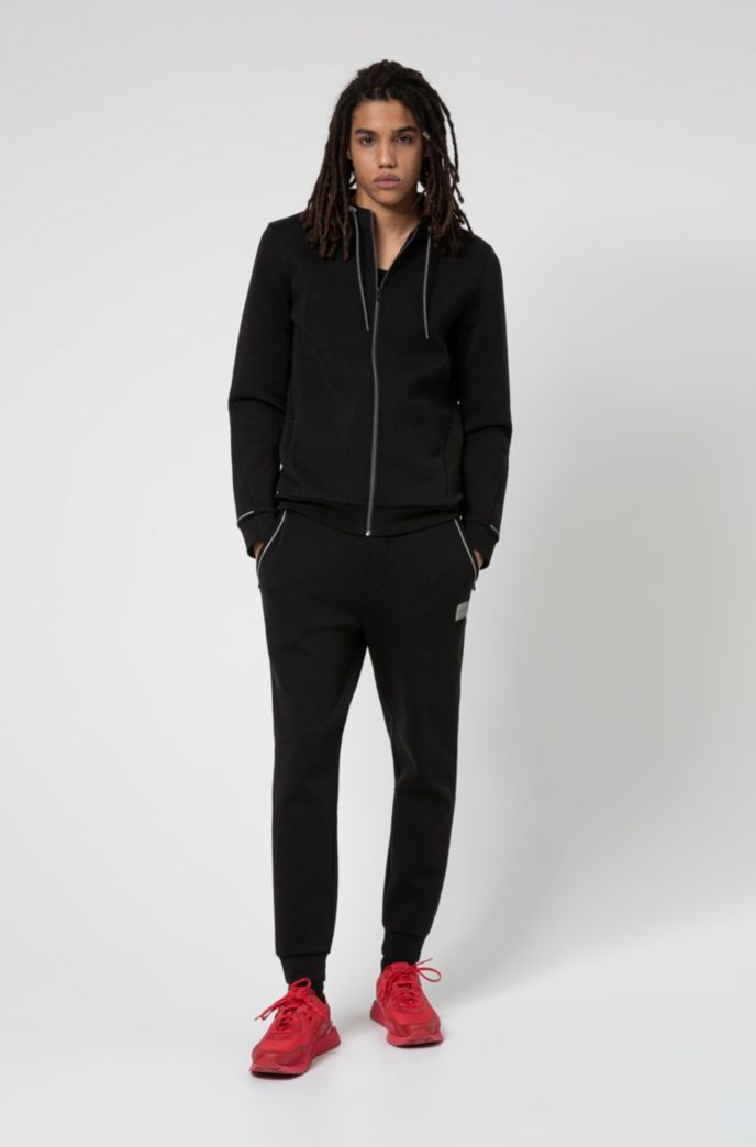 Cotton-blend zip-through hoodie with reflective trims