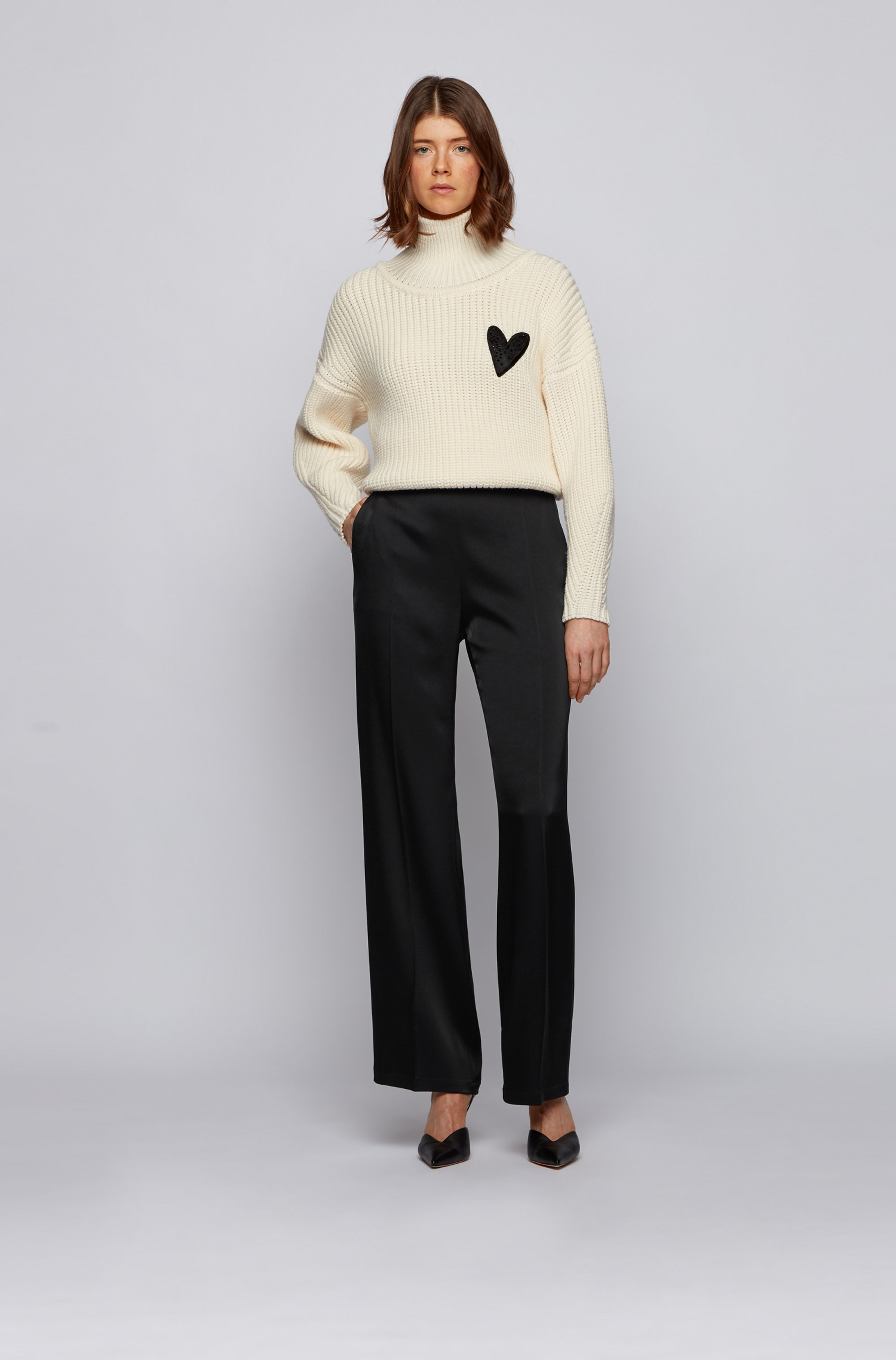 Wide-leg relaxed-fit trousers in satin fabric