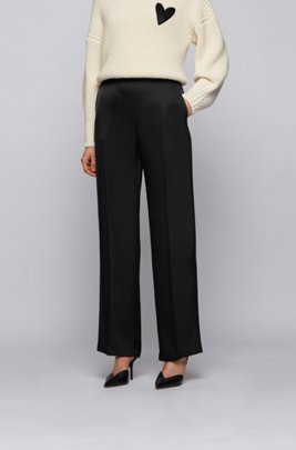 Wide-leg relaxed-fit trousers in satin fabric, Black
