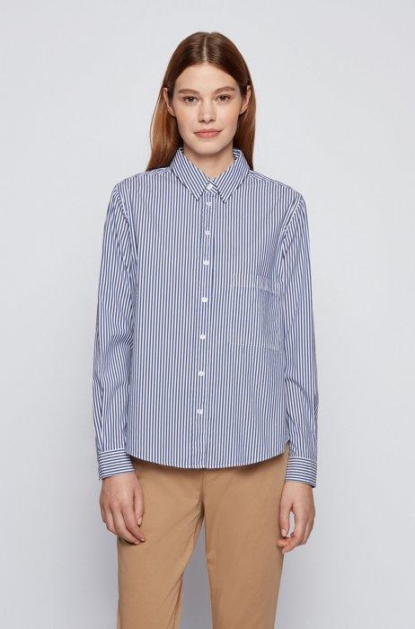 Relaxed-fit blouse in shirtstijl van gestreept stretchmateriaal, Donkerpaars