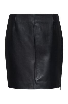 Jupe courte Slim Fit en cuir avec fermeture éclair latérale apparente, Noir