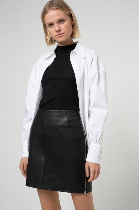 Slim-fit leather mini skirt with exposed side zip, Black