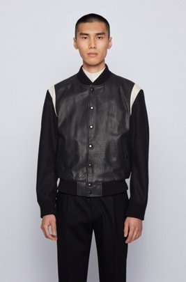 Bomber jacket in buffalo leather with star motif, Black
