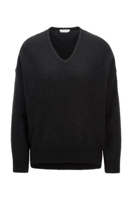 Oversized-fit V-neck sweater in an alpaca blend, Black