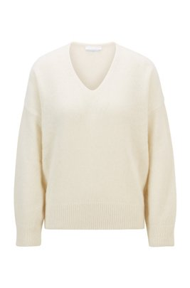 Oversized-fit V-neck sweater in an alpaca blend, White