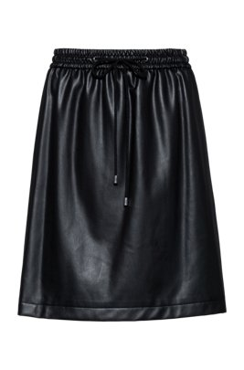 Faux-leather mini skirt with drawstring waist, Black