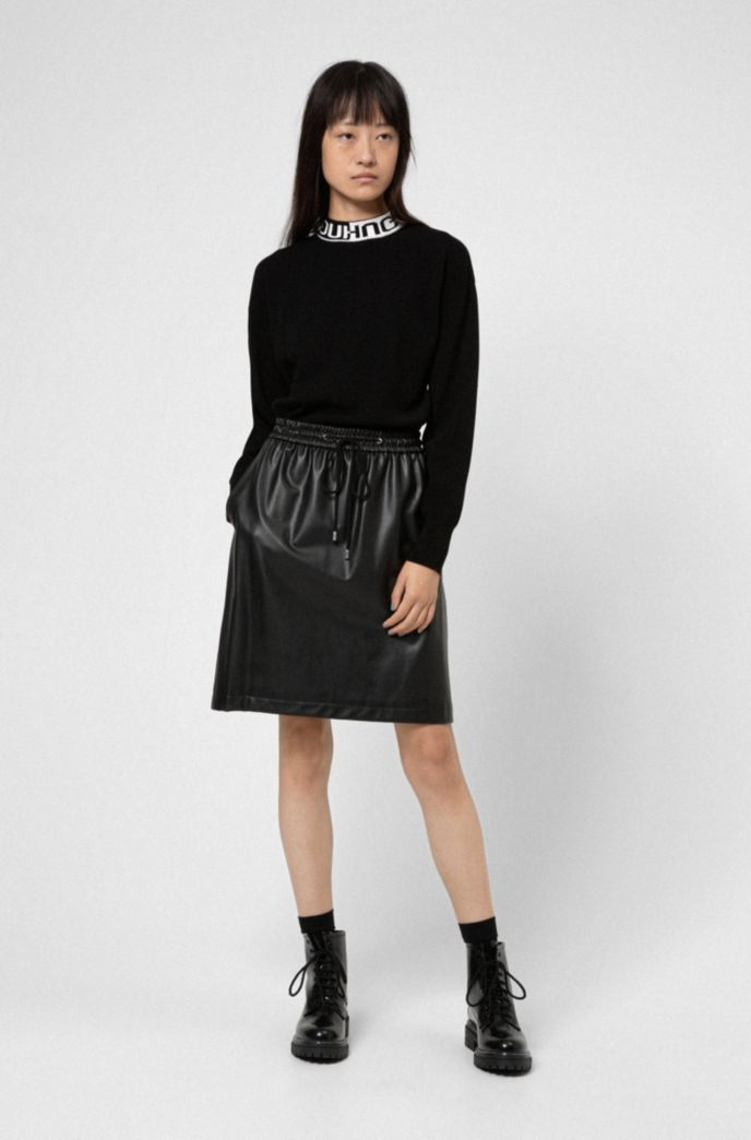Faux-leather mini skirt with drawstring waist