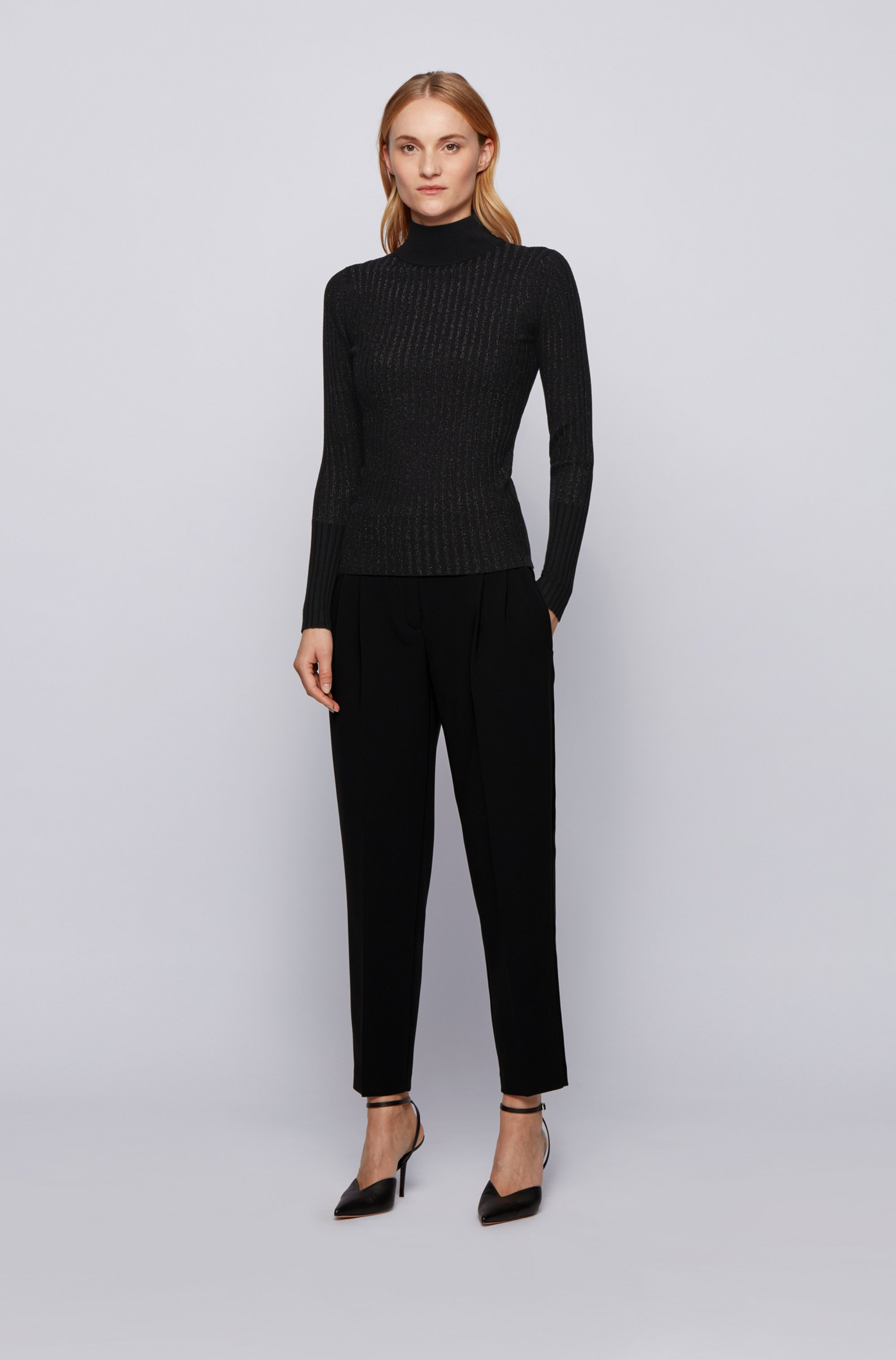 Slim-fit sweater in metallised fabric with mock neck