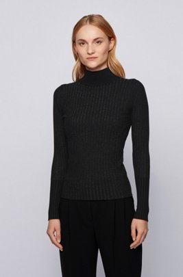 Slim-fit sweater in metallised fabric with mock neck, Black