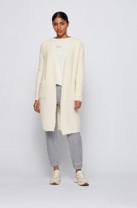 Long open-front cardigan in an alpaca blend, White