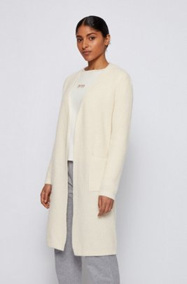 Long open-front cardigan in an alpaca blend, White
