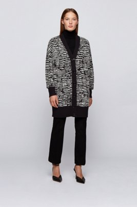 Relaxed-fit long-length cardigan with zebra pattern, Patterned