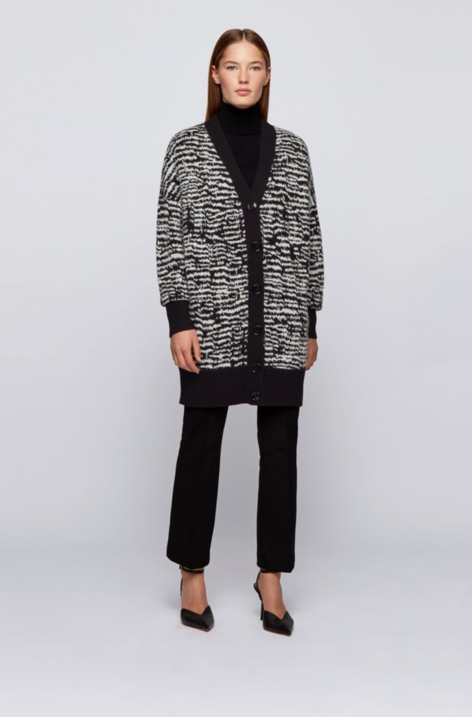 Relaxed-fit long-length cardigan with zebra pattern