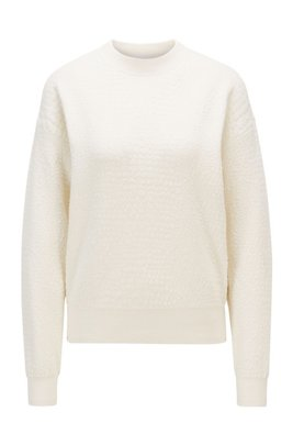 Animal-pattern sweater in knitted jacquard, White