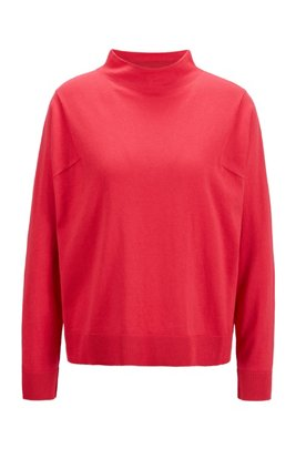 Mock-neck sweater in cotton, silk and cashmere, Pink