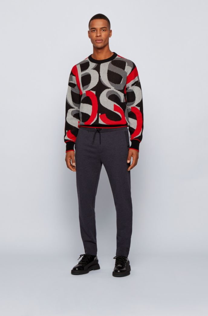 Regular-fit tracksuit bottoms in French terry with recycled trims