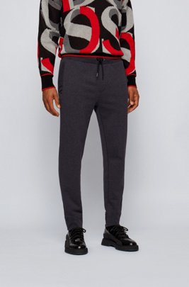 Regular-fit tracksuit bottoms in French terry with recycled trims, Light Grey