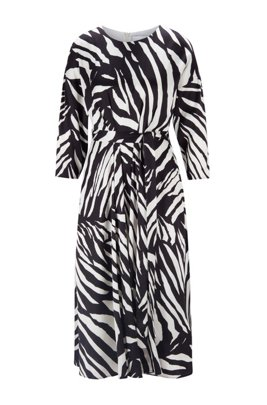 Zebra-print dress with wraparound fabric belt, Patterned