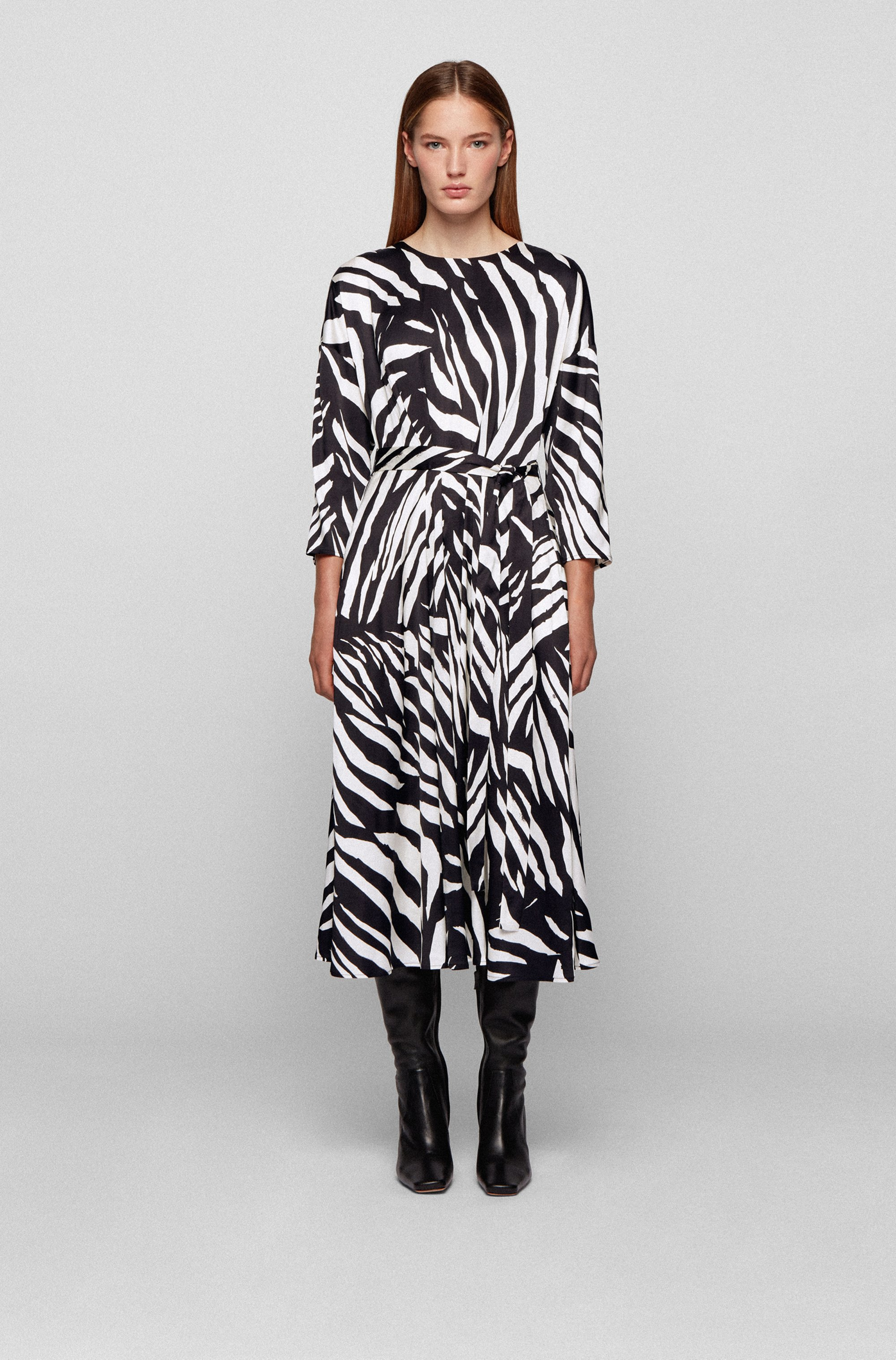 Zebra-print dress with wraparound fabric belt