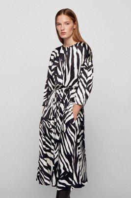 Zebra-print dress with wraparound fabric belt, Patterned