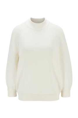 Relaxed-fit cotton-blend sweater with raglan sleeves, White