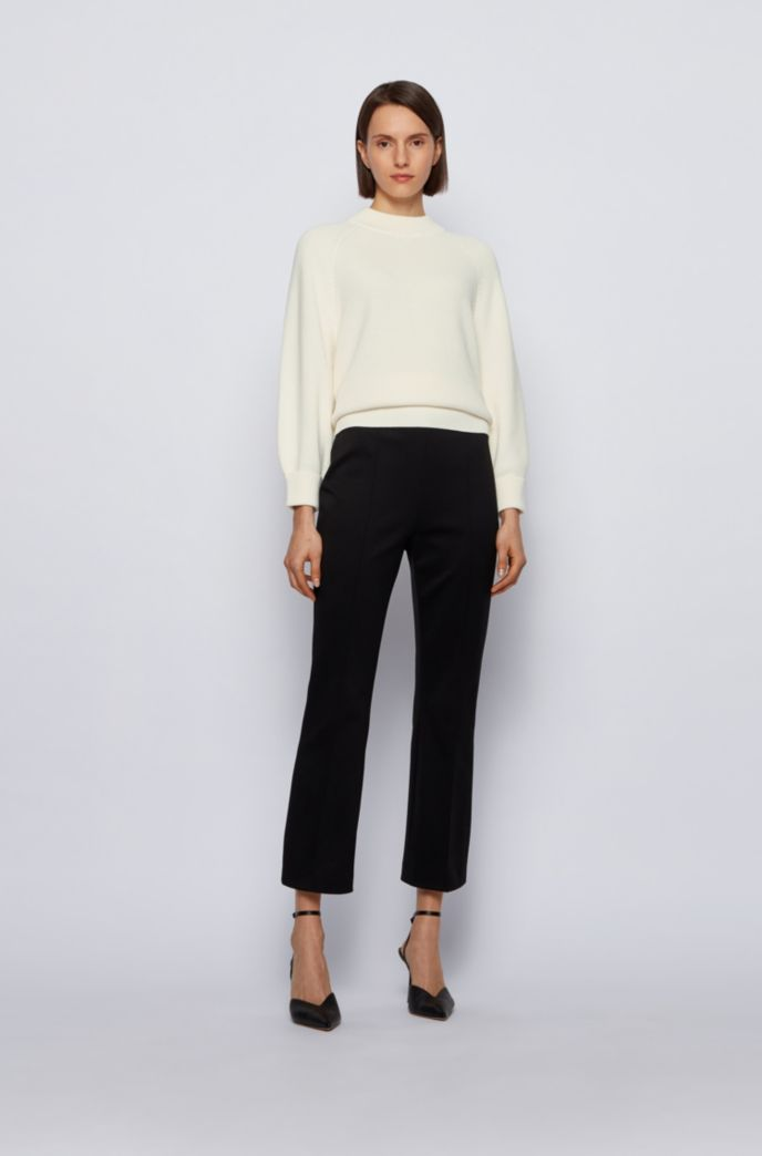 Relaxed-fit cotton-blend sweater with raglan sleeves