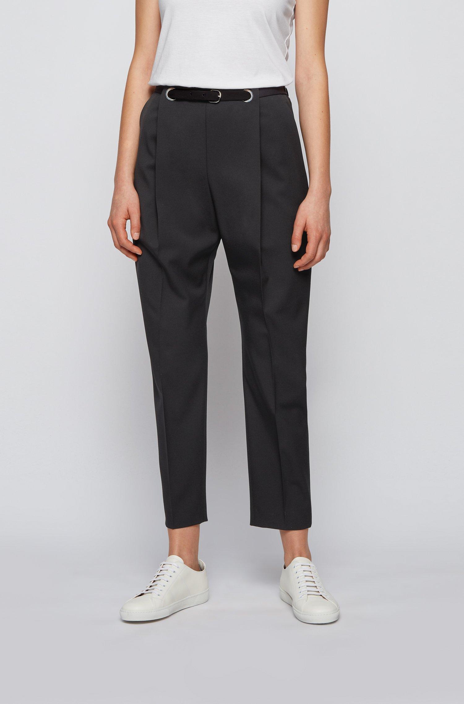 Relaxed-fit broek in Italiaanse gabardine van stretchwol, Zwart