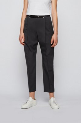 Relaxed-fit trousers in Italian stretch-wool gabardine, Black