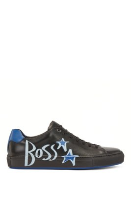 Italian-made leather trainers with logo and star motifs, Black