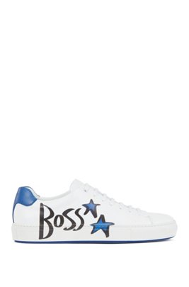 Italian-made leather trainers with logo and star motifs, White