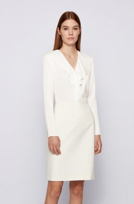 Long-sleeved top in stretch silk with ruffle trims, White