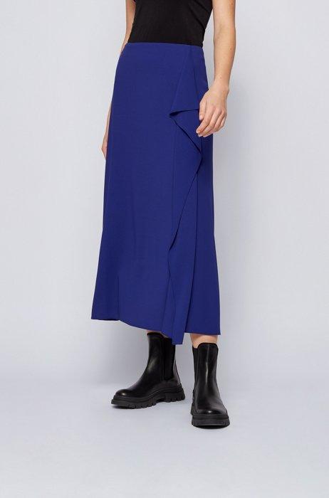 Midi-length A-line skirt with volant trim, Dark Purple