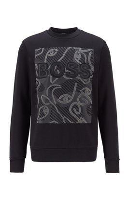 Logo sweatshirt in French terry with ox-head artwork, Black