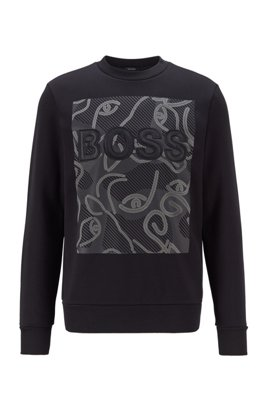 Logo sweatshirt in French terry with ox-head artwork, Black