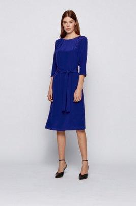 Belted silk dress with pleated neckline, Dark Blue