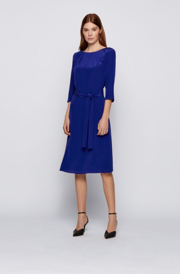 Belted silk dress with pleated neckline