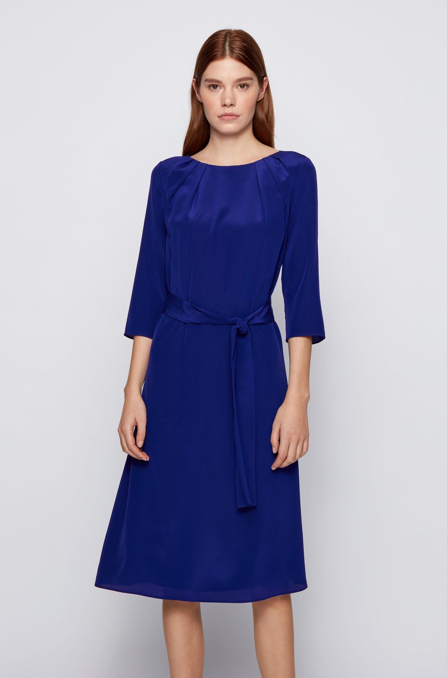 Zijden jurk met riem en geplooide halslijn, Donkerblauw