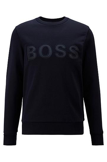 法式棉质毛圈布徽标装饰运动衫,  402_暗蓝色